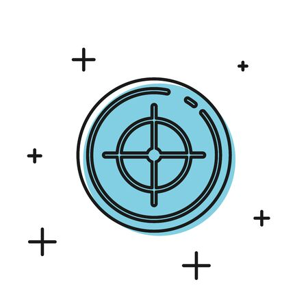 Black Target sport for shooting competition icon isolated on white background. Clean target with numbers for shooting range or shooting. Vector Illustration