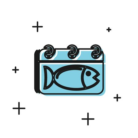 Black Calendar with a fish icon isolated on white background. Day of fish. Vector Illustration 일러스트