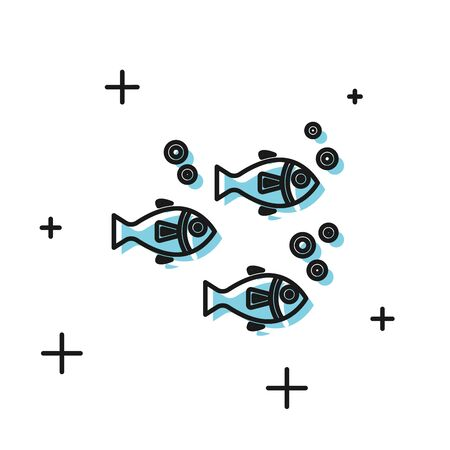 Black Fish icon isolated on white background. Vector Illustration  イラスト・ベクター素材