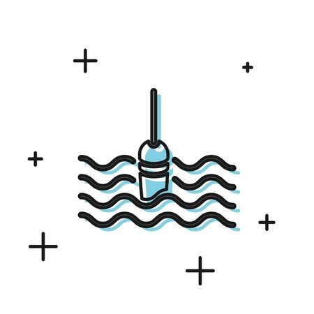Black Fishing float in water icon isolated on white background. Fishing tackle. Vector Illustration  イラスト・ベクター素材