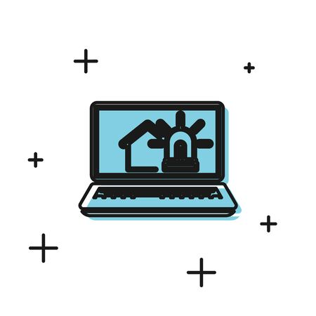 Black Laptop with smart house and alarm icon isolated on white background. Security system of smart home. Vector Illustration Illustration