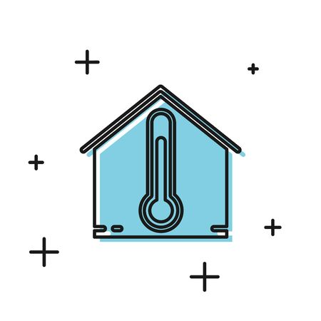 Black House temperature icon isolated on white background. Thermometer icon. Vector Illustration Illustration