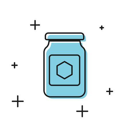 Black Jar of honey icon isolated on white background. Food bank. Sweet natural food symbol. Vector Illustration