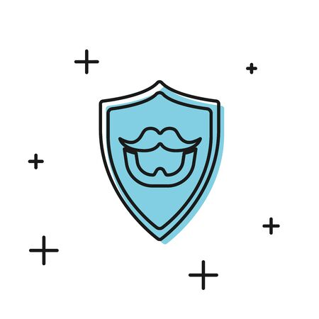 Black Mustache and beard on shield icon isolated on white background. Barbershop symbol. Facial hair style. Vector Illustration