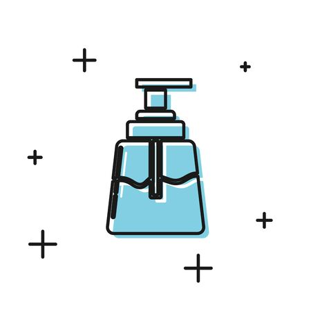 Black Aftershave icon isolated on white background. Cologne spray icon. Male perfume bottle. Vector Illustration