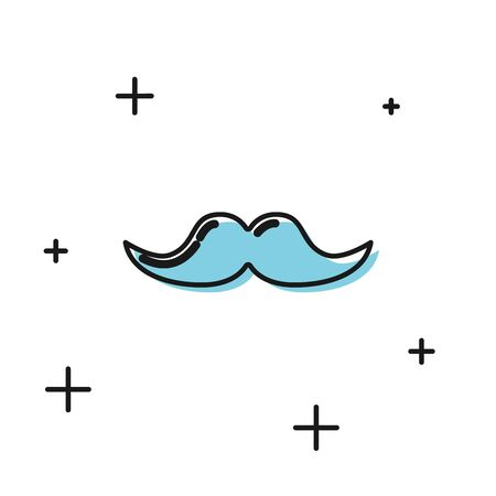 Black Mustache icon isolated on white background. Barbershop symbol. Facial hair style. Vector Illustration