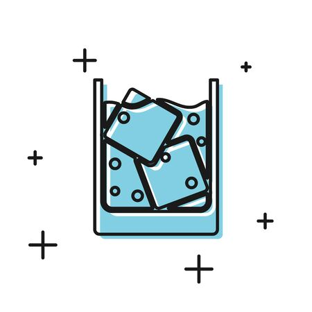 Black Glass of whiskey and ice cubes icon isolated on white background. Vector Illustration