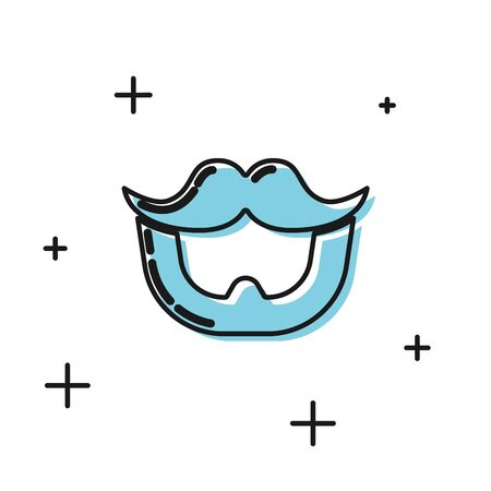 Black Mustache and beard icon isolated on white background. Barbershop symbol. Facial hair style. Vector Illustration