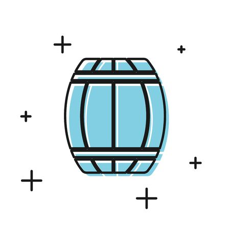 Black Wooden barrel icon isolated on white background. Alcohol barrel, drink container, wooden keg for beer, whiskey, wine. Vector Illustration  イラスト・ベクター素材