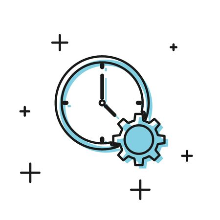 Black Time Management icon isolated on white background. Clock and gear sign. Productivity symbol. Vector Illustration