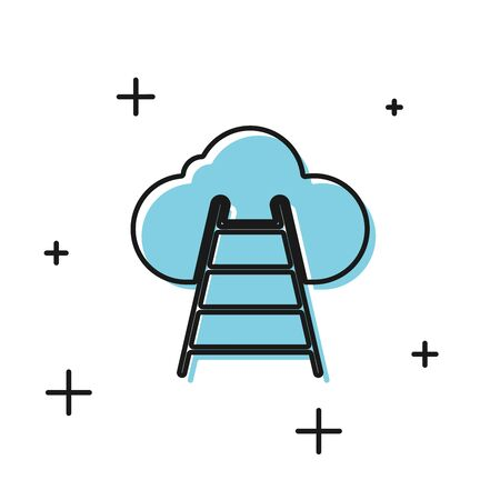 Black Ladder leading to cloud icon isolated on white background. Stairs leading to the cloud. Vector Illustration Illustration