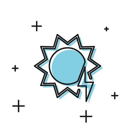 Black Solar energy panel icon isolated on white background. Sun with lightning symbol. Vector Illustration