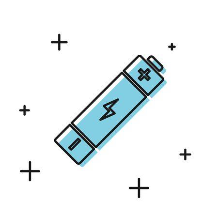Black Battery icon isolated on white background. Lightning bolt symbol. Vector Illustration