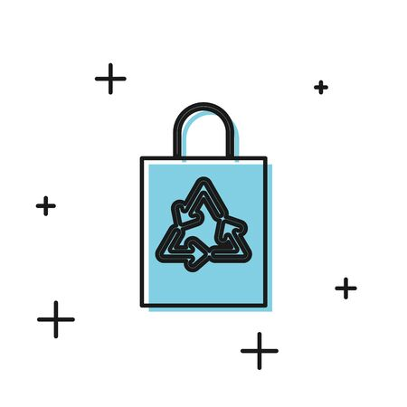 Black Plastic bag with recycle icon isolated on white background. Bag with recycling symbol. Vector Illustration Stok Fotoğraf - 129804825