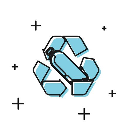 Black Recycling plastic bottle icon isolated on white background. Vector Illustration