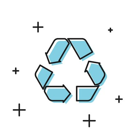 Black Recycle symbol icon isolated on white background. Circular arrow icon. Environment recyclable go green. Vector Illustration
