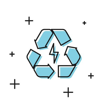 Black Battery with recycle symbol line icon isolated on white background. Battery with recycling symbol - renewable energy concept. Vector Illustration