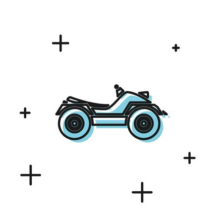 Black All Terrain Vehicle or ATV motorcycle icon isolated on white background. Quad bike. Extreme sport. Vector Illustration