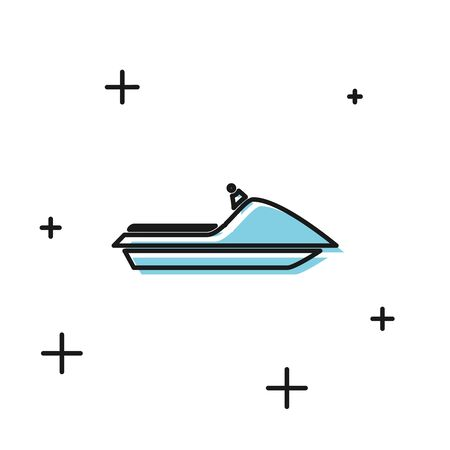 Black Jet ski icon isolated on white background. Water scooter. Extreme sport. Vector Illustration