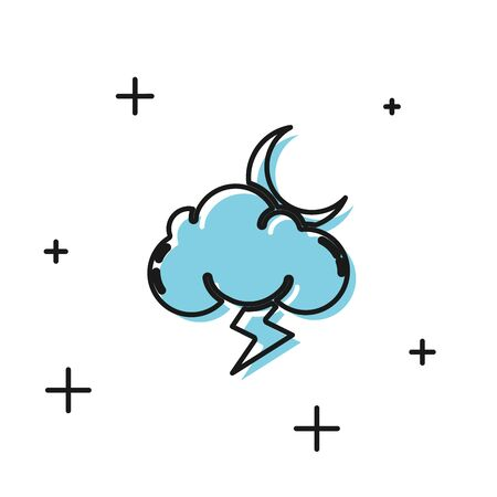 Black Storm icon isolated on white background. Cloud with lightning and moon sign. Weather icon of storm. Vector Illustration  イラスト・ベクター素材