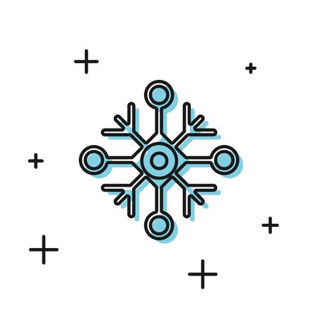 Black Snowflake icon isolated on white background. Vector Illustration