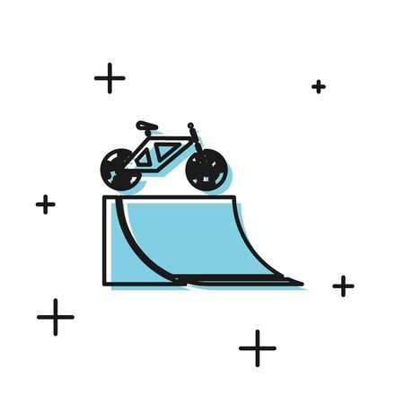 Black Bicycle on street ramp icon isolated on white background. Skate park. Extreme sport. Sport equipment. Vector Illustration
