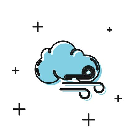 Black Windy weather icon isolated on white background. Cloud and wind. Vector Illustration Иллюстрация