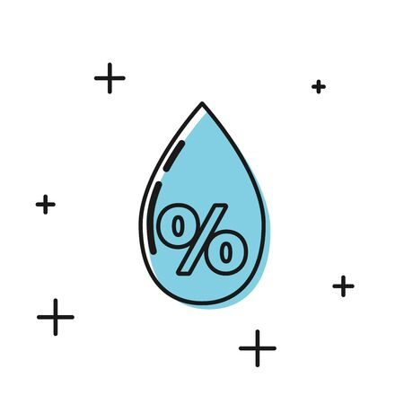 Black Water drop percentage icon isolated on white background. Humidity analysis. Vector Illustration Stock fotó - 129768813