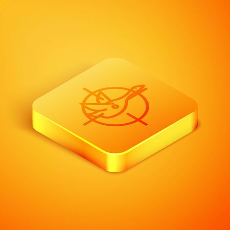 Isometric line Hunt on duck with crosshairs icon isolated on orange background. Hunting club logo with duck and target. Rifle lens aiming a duck. Orange square button. Vector Illustration 일러스트