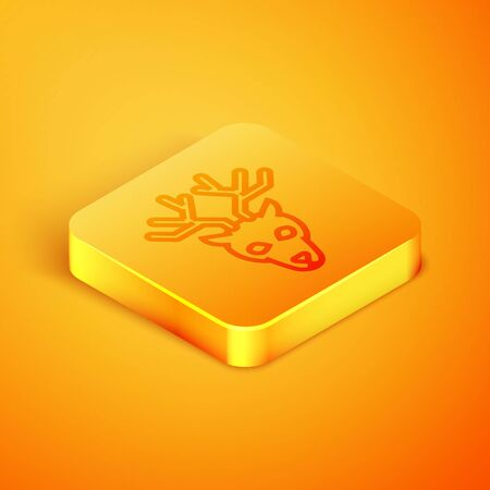 Isometric line Deer head with antlers icon isolated on orange background. Orange square button. Vector Illustration