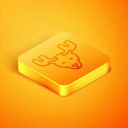 Isometric line Moose head with horns icon isolated on orange background. Orange square button. Vector Illustration