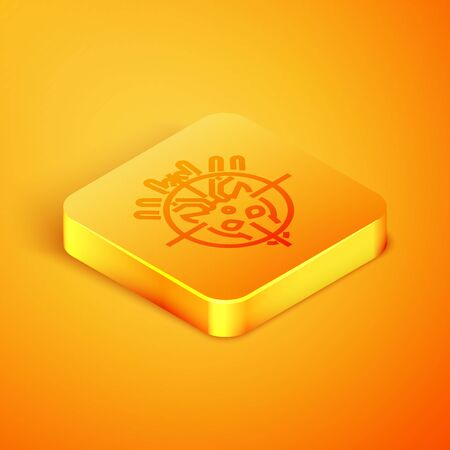 Isometric line Hunt on deer with crosshairs icon isolated on orange background. Hunting club logo with deer and target. Rifle lens aiming a deer. Orange square button. Vector Illustration