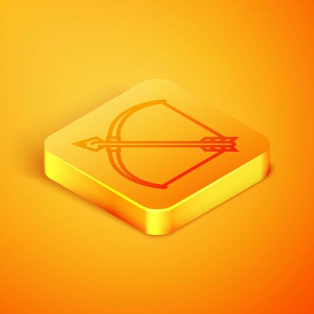 Isometric line Bow and arrow in quiver icon isolated on orange background. Orange square button. Vector Illustration