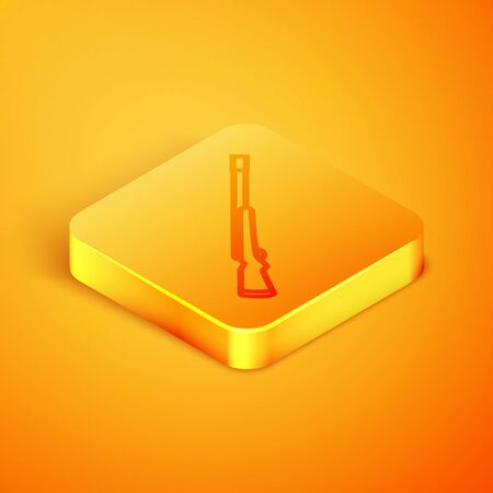 Isometric line Hunting gun icon isolated on orange background. Hunting shotgun. Orange square button. Vector Illustration