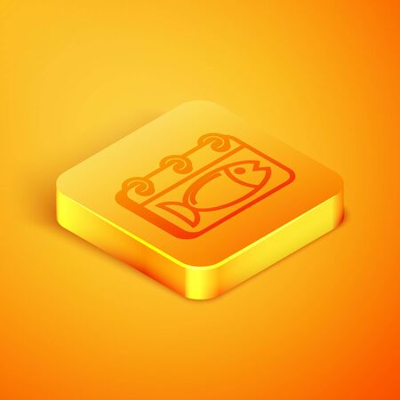 Isometric line Calendar with a fish icon isolated on orange background. Day of fish. Orange square button. Vector Illustration