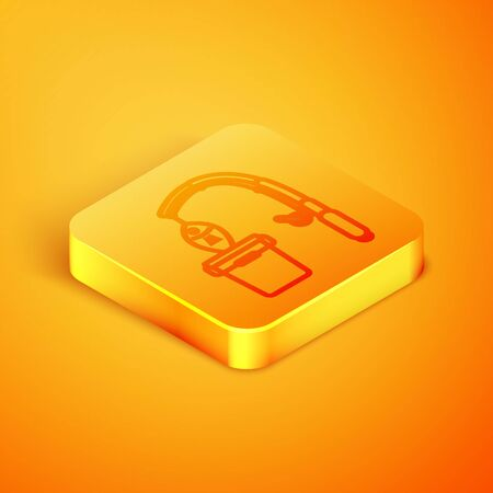 Isometric line Fishing rod and fish icon isolated on orange background. Put fish into a bucket. Fishing equipment and fish farming topics. Orange square button. Vector Illustrationn