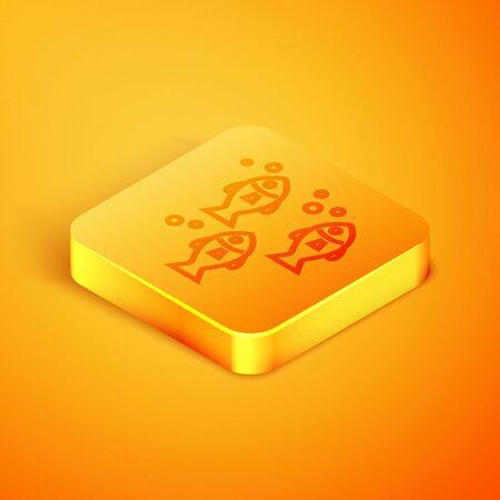 Isometric line Fish icon isolated on orange background. Orange square button. Vector Illustration 写真素材 - 129768915