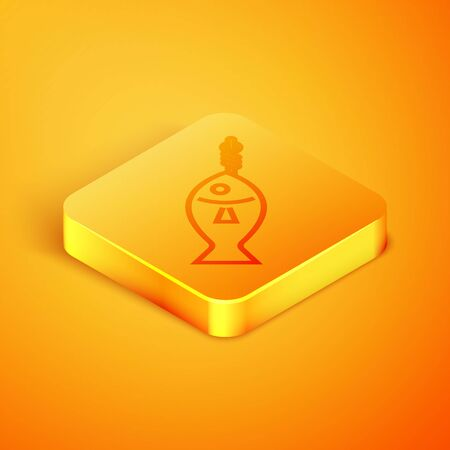 Isometric line Fish on hook icon isolated on orange background. Orange square button. Vector Illustration 写真素材 - 129768943