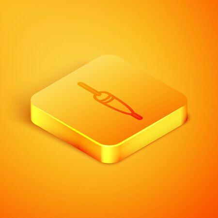 Isometric line Fishing float icon isolated on orange background. Fishing tackle. Orange square button. Vector Illustration
