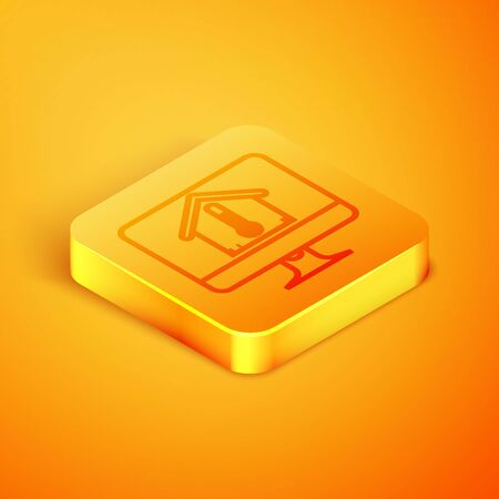Isometric line Computer monitor with house temperature icon isolated on orange background. Thermometer icon. Orange square button. Vector Illustration