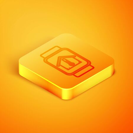 Isometric line Smart watch with house temperature icon isolated on orange background. Thermometer icon. Orange square button. Vector Illustration