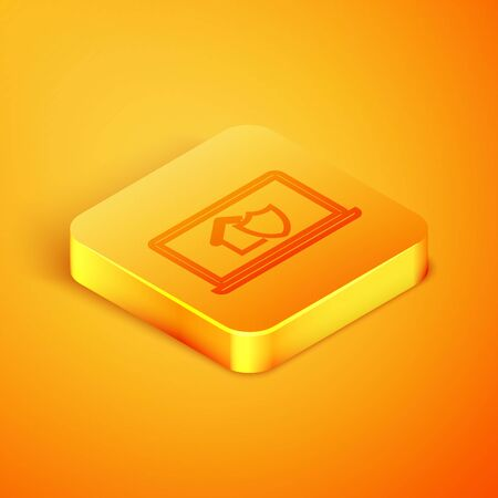 Isometric line Laptop with house under protection icon isolated on orange background. Protection, safety, security, protect, defense concept. Orange square button. Vector Illustration Illusztráció