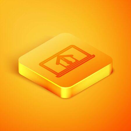Isometric line Laptop with house temperature icon isolated on orange background. Thermometer icon. Orange square button. Vector Illustration Illusztráció