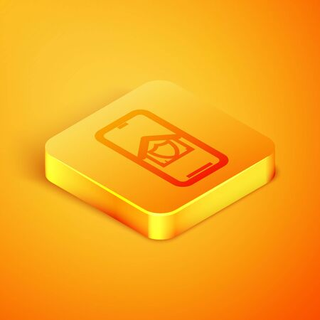 Isometric line Mobile phone with house under protection icon isolated on orange background. Protection, safety, security, protect, defense concept. Orange square button. Vector Illustration
