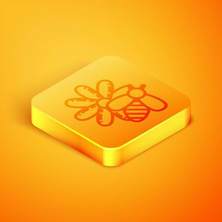 Isometric line Bee and flower icon isolated on orange background. Sweet natural food. Honeybee or apis with wings symbol. Flying insect. Orange square button. Vector Illustration