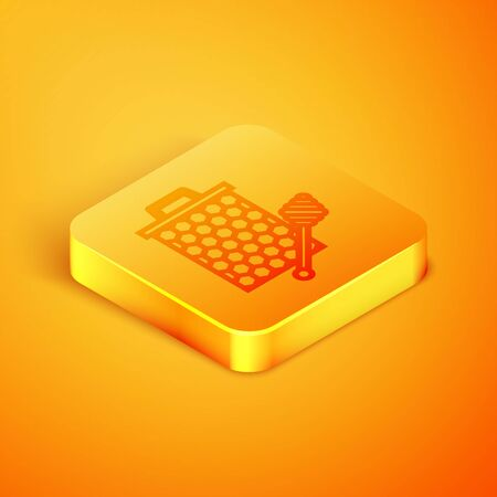 Isometric line Honeycomb with honey dipper stickicon isolated on orange background. Honey ladle. Honey cells symbol. Sweet natural food. Orange square button. Vector Illustration Ilustração