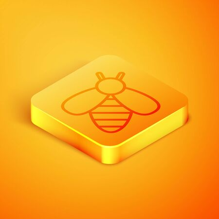 Isometric line Bee icon isolated on orange background. Sweet natural food. Honeybee or apis with wings symbol. Flying insect. Orange square button. Vector Illustration