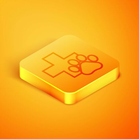 Isometric line Veterinary clinic symbol icon isolated on orange background. Cross hospital sign. A stylized paw print dog or cat. Pet First Aid sign. Orange square button. Vector Illustration