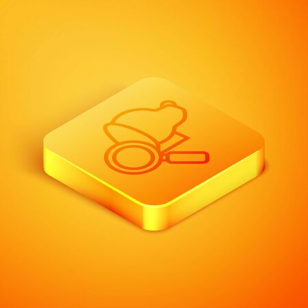 Isometric line Veterinary clinic symbol icon isolated on orange background. Magnifying glass with dog veterinary care. Pet First Aid sign. Orange square button. Vector Illustration