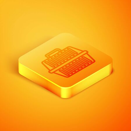 Isometric line Pet carry case icon isolated on orange background. Carrier for animals, dog and cat. Container for animals. Animal transport box. Orange square button. Vector Illustration Illustration